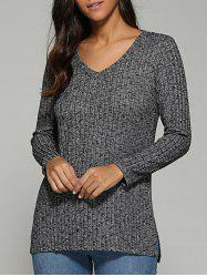 V Neck Ribbed Knitted Sweater - GRAY