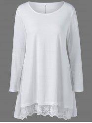 Lace Panel Long Sleeve Casual Tunic Dress - WHITE XL