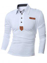 Patch Design Polo Collar Long Sleeve T-Shirt - WHITE