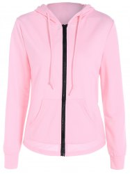 Zipper Up Pocket Design Hoodie - PINK XL
