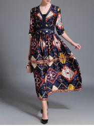 Retro Printed V Neck Long Dress