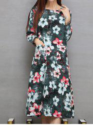 Pocket Design Floral Print Midi Dress