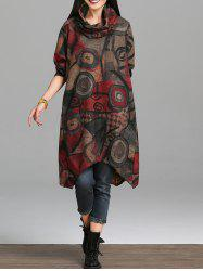 Asymmetrical Retro Print Dress