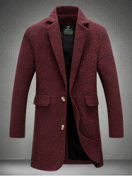 Notch Lapel Sleeve Buttons Single Breasted Texture Coat -