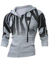 Zip Up Long Sleeve Graphic Print Hoodie