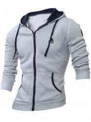 Embroidery Zip Up Long Sleeve Hoodie - LIGHT GRAY