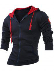 Embroidery Zip Up Long Sleeve Hoodie