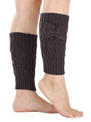 Chaud Petit bowknot Rhombus Crochet Knit Boot Cuffs -