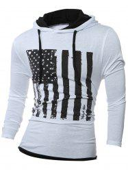 Stars and Stripes Pattern Long Sleeve Drawstring Hoodie - WHITE L