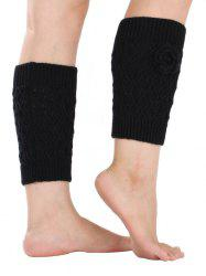 Chaud Flower Embellished Rhombus Mesh Crochet Knit Boot Cuffs - Noir