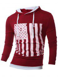 Stars and Stripes Pattern Long Sleeve Drawstring Hoodie