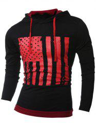 Stars and Stripes Pattern Long Sleeve Drawstring Black Red Hoodie