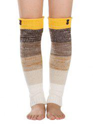 Warm Buttons Color Block Striped Knit Leg Warmers -