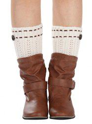 Warm Button Embellished Wheat Crochet Knit Boot Cuffs -