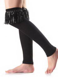 Warm Tassel Edge Embellished Leg Warmers -