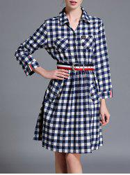 Checkered Long Sleeve Shirt Dress
