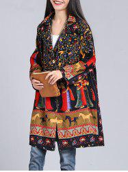 Loose-Fitting Ethnic Print Coat -