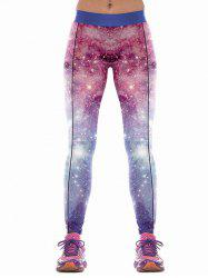 Colorful Sky Print Skinny Sports Pants -