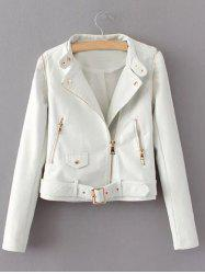 Zippered Faux Leather Biker Jacket - WHITE