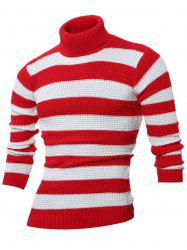 Turtle Neck Long Sleeves Striped Sweater -