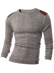 Shoulder Patch Design Round Neck Ribbed Sweater -