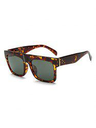 Rectangle Faux Amber Polarized Sunglasses - SAGE GREEN