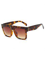 Rectangle Faux Amber Polarized Sunglasses - TEA-COLORED