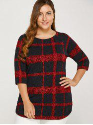 Plus Size Asymmetric Plaid Tee