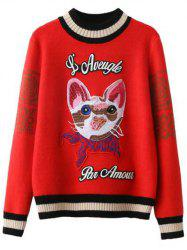 Kitten Embroidered Ribbed Sweater