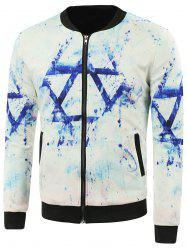 Printed Side Pocket Stand Collar Zip Up Jacket - WHITE 5XL