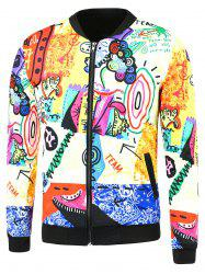 Cartoon Printing Side Pocket Zip Up Jacket