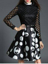 Polka Dot Openwork Spliced Dress