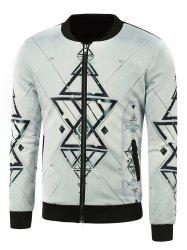 Geometric Print Stand Collar Zip Up Jacket