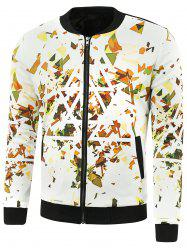 Stand Collar Triangle Print Zip Up Jacket - WHITE 5XL
