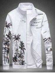 Zip Up Stand Collar Plam Printed Jacket - WHITE 3XL