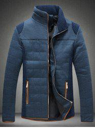 Trimmed Zippered Stand Collar Quilted Jacket - BLUE