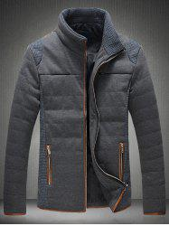 Trimmed Zippered Stand Collar Quilted Jacket - GRAY