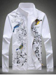 Imprimé floral stand Collar Zip Up Jacket - Blanc L