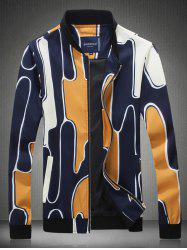 Abstract Printed Stand Collar Zip Up Jacket - YELLOW 5XL