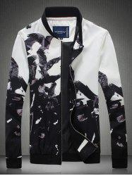 Bird Printed Stand Collar Zip Up Jacket - BLACK 2XL