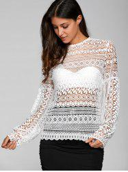Openwork Puff Sleeve Blouse