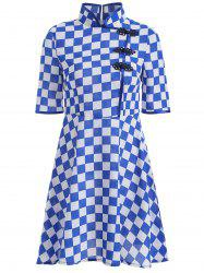 Gingham Fit and Flare Qipao Dress - BLUE 4XL