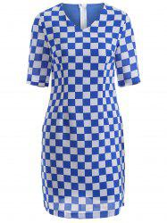 Zip Up Back Gingham Sheath Dress