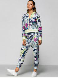 Zip Up Printed Top with Ankle Pencil Pants -