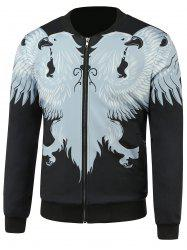 Stand Collar Zip Up Animal Printed Jacket