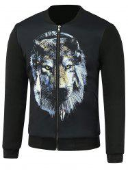 Lion 3D Printing Support Collar Zip Up Jacket - Noir L