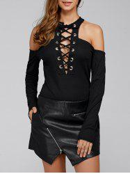 Criss Cross Plunging Neck Cold Shoulder Lace-Up Bodysuit