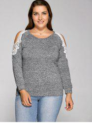 Cold Shoulder Pullover Sweatshirt - GRAY