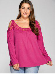 Long Sleeve Lace Splicing Cold Shoulder T Shirt - ROSE MADDER 5XL