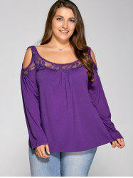 Lace Splicing Cold Shoulder T Shirt